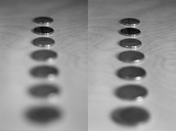 Exemple flou d'arrière-plan profondeur de champ à gauche à f/1.8, à droite à f/4
