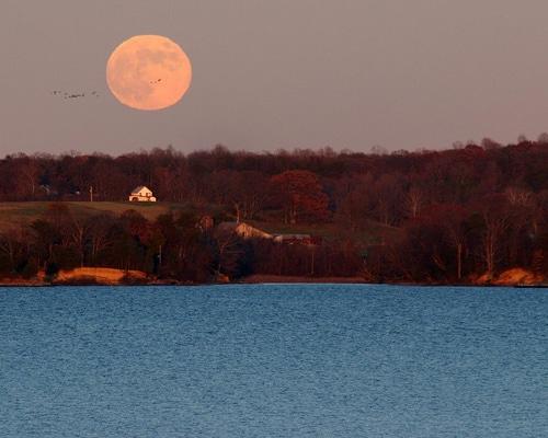 Photo Lever de lune exemple longueur focale paysage