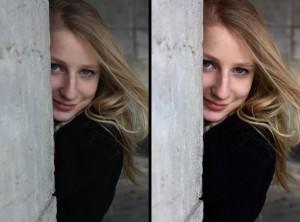 RAW avant/après photo portrait femme rue développement