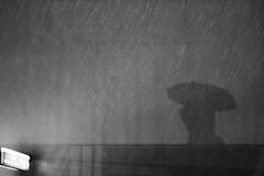 Parapluie ombre pluie silhouette noir et blanc
