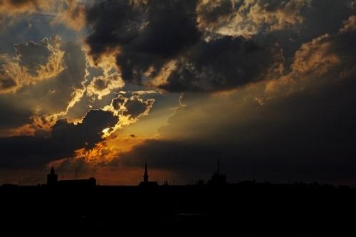 coucher de soleil ville mémorisation d'exposition photo canon