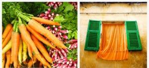 duo couleurs Anne Laure Jacquart carottes radis orange vert volets rideaux