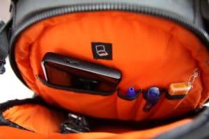 test sac photo Vanguard Skyborne 45 intérieur poche