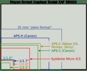 reflex taille capteur schéma
