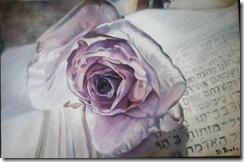 rose peinture photo fleur pétales runes blanc