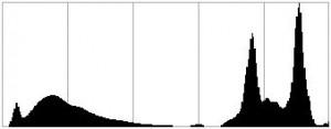 Cas n°4: dynamique limite corrigée = pas de pic coupé à droite, pas de pic coupé à gauche. C'est ce à quoi devrait ressembler votre histogramme sur l'appareil.