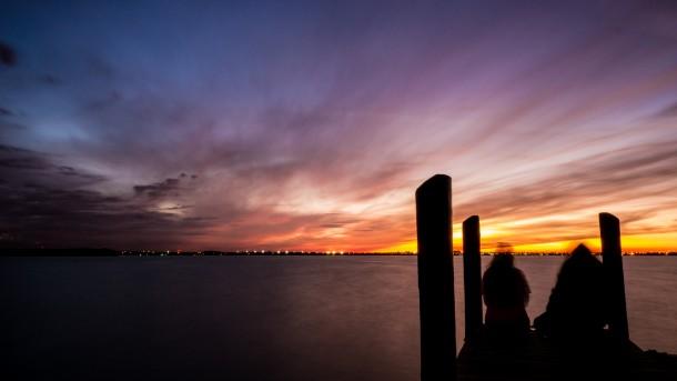 photo ponton silhouette coucher de soleil mer océan ciel pose longue