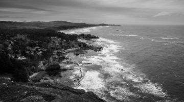 Photo Côte de l'Oregon océan noir et blanc