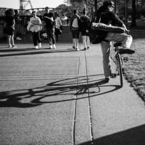 Portland photo de rue vélo soleil ombre noir et blanc