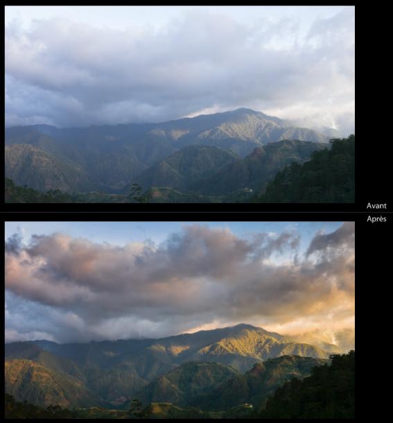 photo montagne avec et sans exposition à droite différence