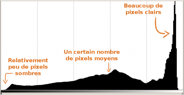 histogramme pixels sombres moyens clairs