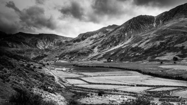 Snowdonia, au pays de Galles point de vue photo de paysage noir et blanc