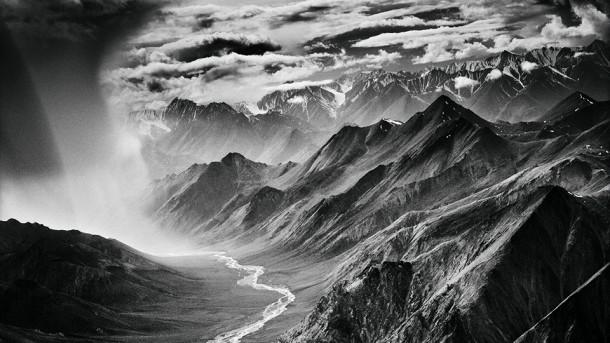 photo noir et blanc montagne exposition lumière nuages