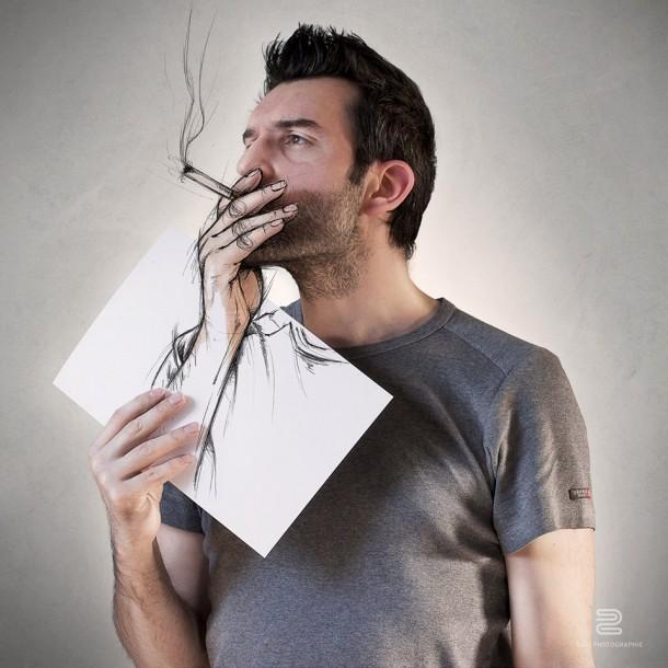 Sébastien Del Grosso photo dessin cigarette fumée homme