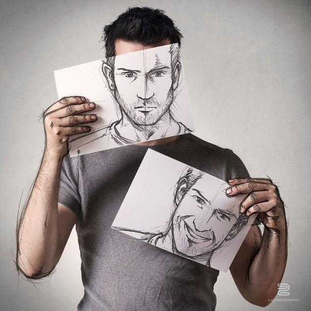 Sébastien Del Grosso photo dessin homme visage portrait