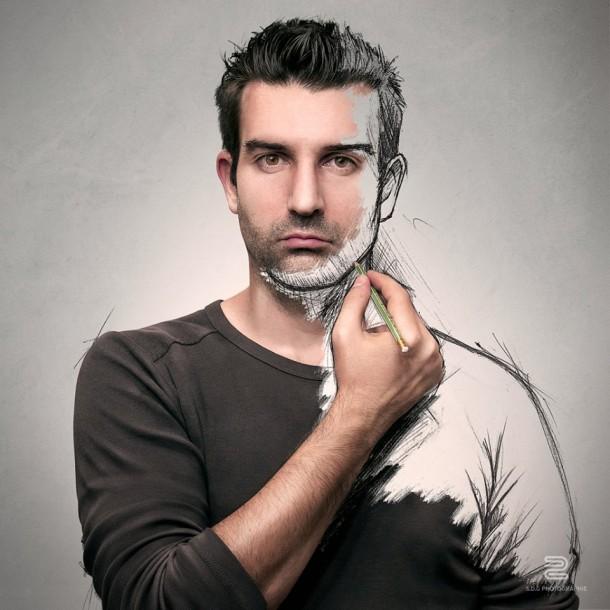 Sébastien Del Grosso dessinateur photographe photo homme dessin portrait