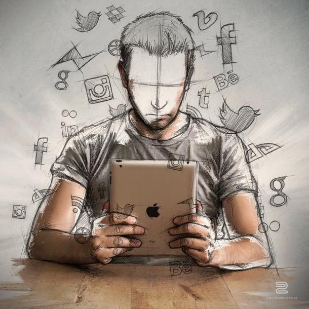 Sébastien Del Grosso photo dessin ipad réseaux sociaux internet sites