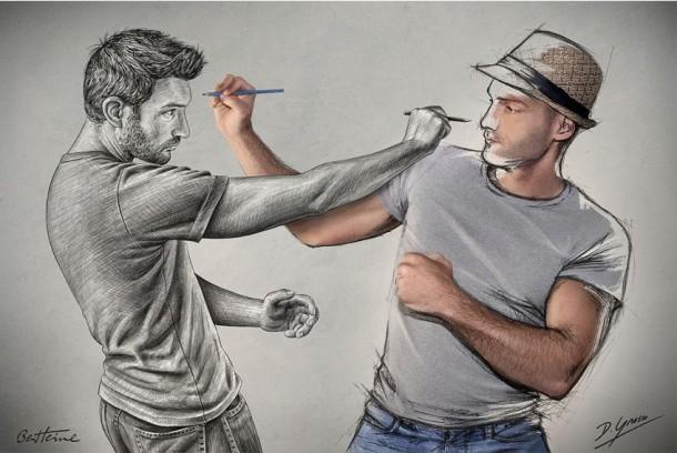 Sébastien Del Grosso photo dessin hommes crayon paradoxe mains