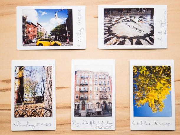 Un coin de rue, des feuilles automnales éclairées par le soleil, ou le bâtiment qui a servi pour la couverture de Physical Graffiti de Led Zeppelin photo instantanée Fuji Instax Mini 90 New-York