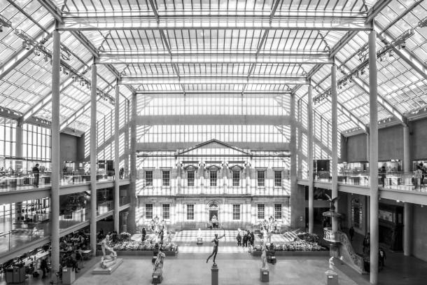Lumière musée Metropolitan Muséum noir et blanc photo oeuvre