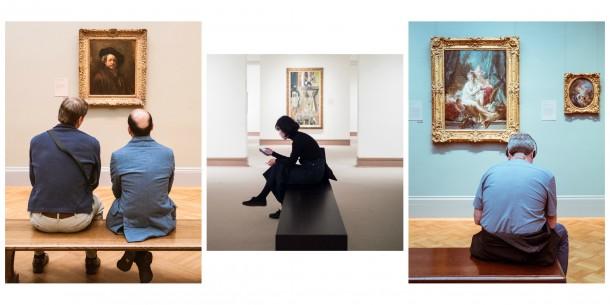 Composition photo visiteurs touristes musées tableaux