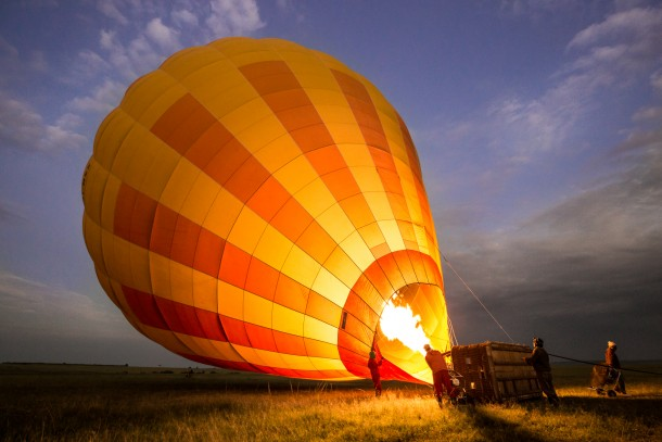 baptême de montgolfière lever du soleil photo safari savane kenya