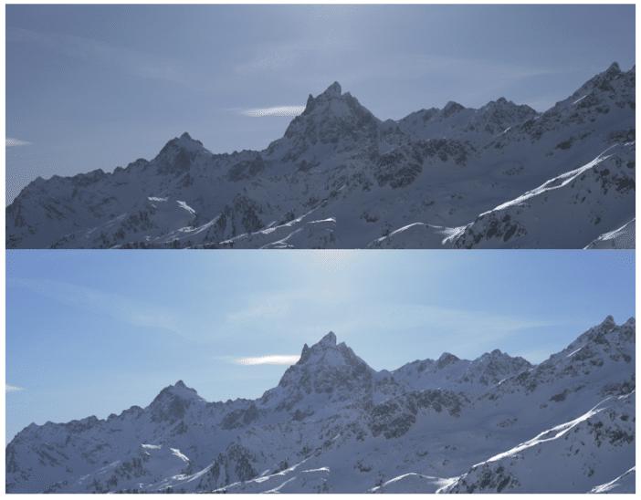 Utilisation du filtre polarisant face au soleil