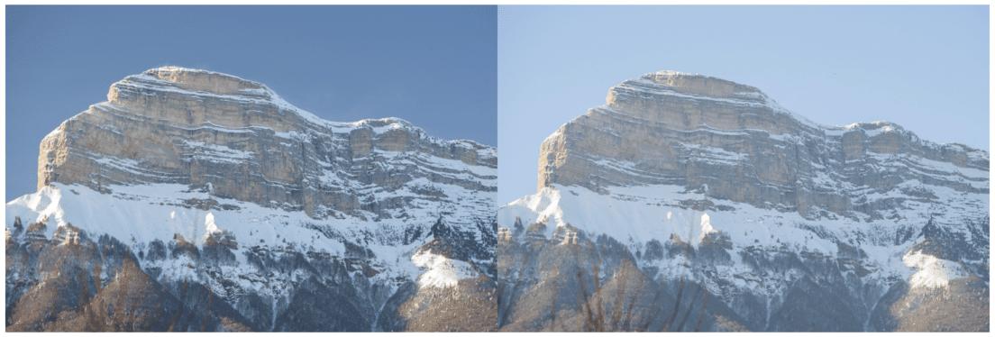 Exemple de diminution du voile atmosphérique grâce au filtre polarisant